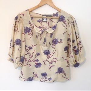 Girls from Savoy Cream Floral Peter Pan Collar Top